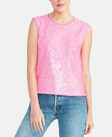 RACHEL Rachel Roy Addie Sequined Open-Back Top