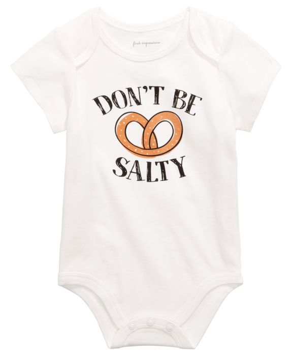 First Impressions Baby Boys or Girls Pretzel Graphic Bodysuit , White, Size: 0-3 months
