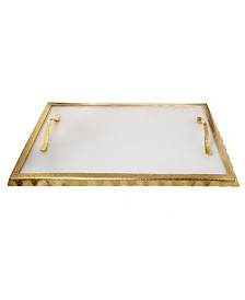 """Classic Touch 17.25"""" Marble Challah Tray with Rim and Handles"""