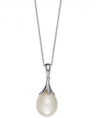 Pearl necklace 14k white gold cultured freshwater pearl 9mm pearl necklace 14k white gold cultured freshwater pearl 9mm claw pendant mozeypictures Gallery