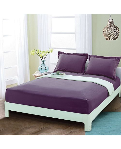 Elegant Comfort Silky Soft Single Fitted Sheet Queen Purple