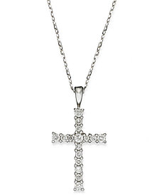 Diamond Cross Pendant Necklace in 14k Gold (1/4 ct. t.w.)
