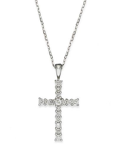 Diamond Cross Pendant Necklace in 14k Gold (1/4 ct. t.w.)