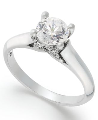 Certified Diamond Solitaire Engagement Ring in 18k White Gold (1 ct. t.w.), Created for Macy's