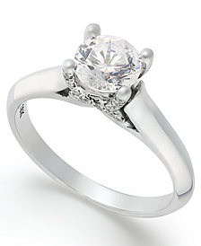 X3 Certified Diamond Solitaire Engagement Ring in 18k White Gold (1 ct. t.w.), Created for Macy's