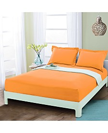 Elegant Comfort Silky Soft Single Fitted Set Queen Elite Orange