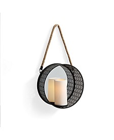 Round Mirror Pillar Candle Sconce with Filigree Metal Frame
