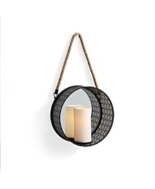 Danya B. Round Mirror Pillar Candle Sconce with Filigree Metal Frame