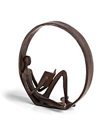 Encircled Reader Iron Sculpture