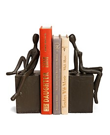Bookend Set with Man and Woman Sitting on a Block