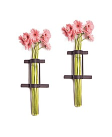 Wall Mount Cylinder Glass Vases with Rustic Metal Stand - Set of 2