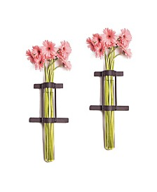 Danya B. Wall Mount Cylinder Glass Vases with Rustic Metal Stand - Set of 2