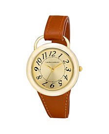 Ladies' Tan Band Sunray Dial Sterrup Case Push Pin Closure Watch