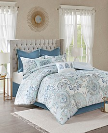 Madison Park Isla Queen 8 Piece Cotton Printed Reversible Comforter Set
