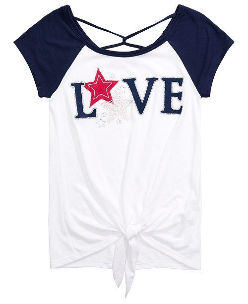 Beautees Big Girls Cross-Back Tie-Front T-Shirt