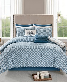 Madison Park Eden Queen 8 Piece Cotton Printed Reversible Comforter Set