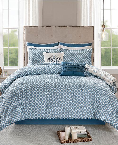 Madison Park Eden Queen 8 Piece Cotton Printed Reversible Comforter Set