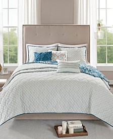 Madison Park Eden King/California King 6 Piece Cotton Printed Reversible Coverlet Set