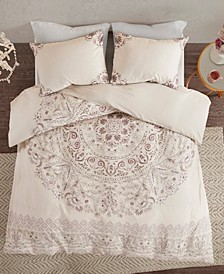 Madison Park Elise King/California King 3 Piece Cotton Printed Reversible Duvet Cover Set