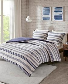 Urban Habitat Cole Full/Queen Stripe Print Ultra Soft Cotton Blend Jersey Knit 3 Piece Duvet Cover Set