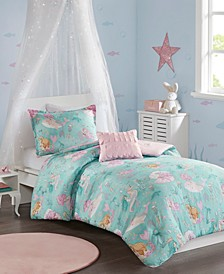 Darya Full/Queen 4 Piece Printed Mermaid Comforter Set