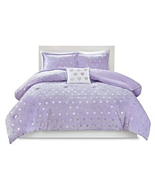 Mi Zone Rosalie Full/Queen 4 Piece Metallic Heart Printed Comforter Set