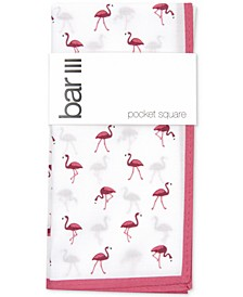 Men's Flamingo Print Pocket Square, Created for Macy's