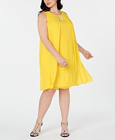 Plus Size Rhinestone-Trim A-Line Dress