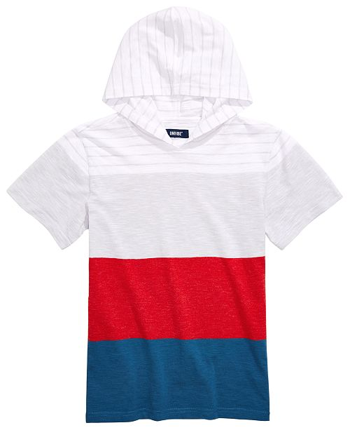 Univibe Big Boys Benjamin Colorblocked Stripe Hooded T-Shirt