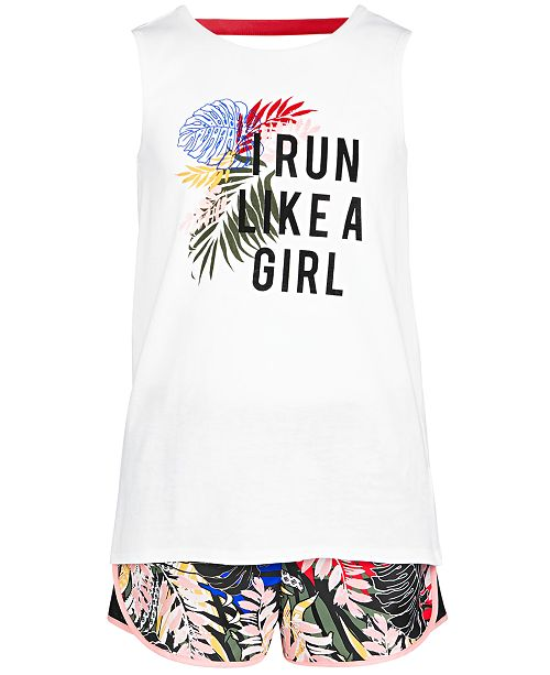 Ideology Big Girls Back Strap Tank Top & Printed Shorts, Created for Macy's