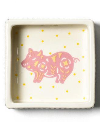 by Laura Johnson  Chinese Zodiac Pig Square Trinket Bowl