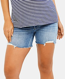 Maternity Frayed Denim Shorts