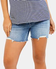Paige Denim Maternity Frayed Denim Shorts