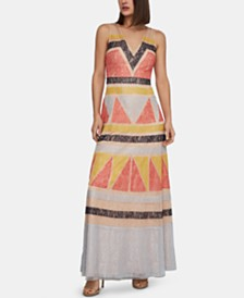 BCBGMAXAZRIA Colorblocked Lace Dress