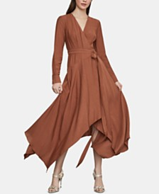 BCBGMAXAZRIA Asymmetrical-Hem Wrap Dress