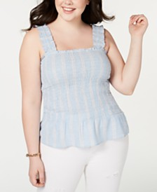 Planet Gold Trendy Plus Size Smocked Tank Top