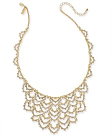 "I.N.C. Gold-Tone Crystal Scalloped Statement Necklace, 18"" + 3"" extender, Created for Macy's"
