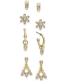I.N.C. Gold-Tone 4-Pc. Set Crystal Earrings, Created for Macy's