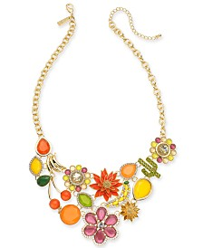 "I.N.C. Gold-Tone Crystal & Stone Multi-Motif Statement Necklace, 18"" + 3"" extender, Created for Macy's"