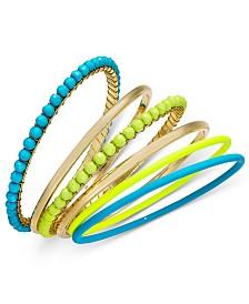 I.N.C. Tri-Tone 6-Pc. Set Multi-Bead Bangle Bracelets, Created for Macy's