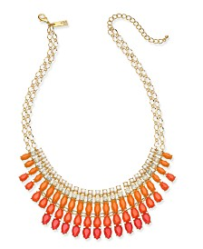 "I.N.C. Gold-Tone Ombré Stone Statement Necklace, 18"" + 3"" extender , Created for Macy's"