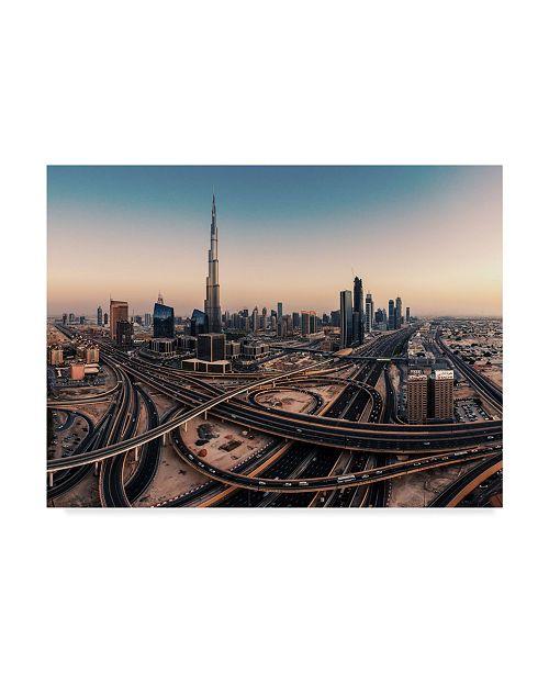 "Trademark Global Jean Claude Castor 'Dubai Skyline Panorama' Canvas Art - 47"" x 35"" x 2"""