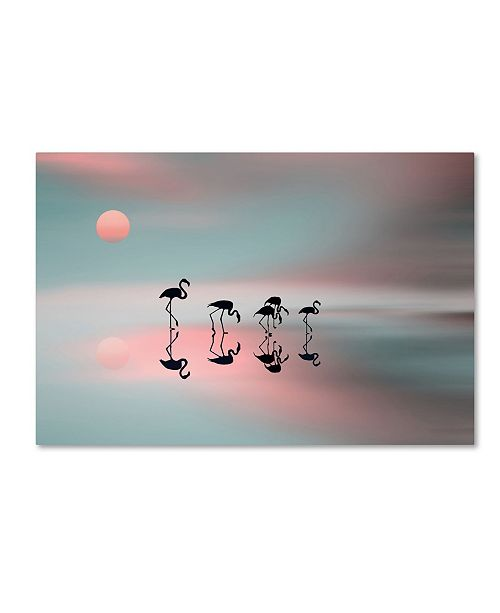 "Trademark Global Natalia Baras 'Family Flamingos' Canvas Art - 19"" x 12"" x 2"""