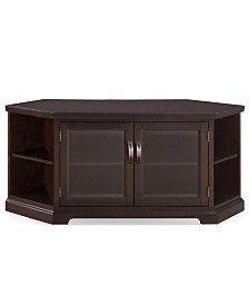 "Leick Home Chocolate Cherry & Bronze Glass 56"" Corner TV Console with Bookcase/Display"