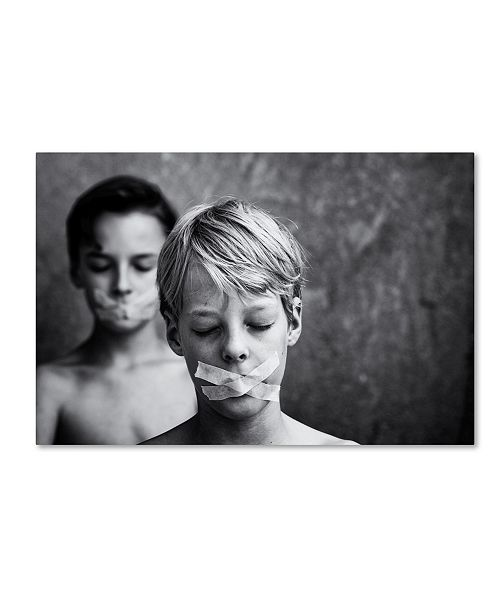 "Trademark Global Mirjam Delrue 'Don't Look Don't Speak' Canvas Art - 19"" x 12"" x 2"""