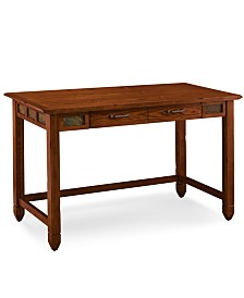 Leick Home Rustic Oak and Slate Laptop Desk with Center Drawer