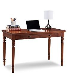 Leick Home Farmhouse Oak Turned leg Laptop Desk with Center Drawer