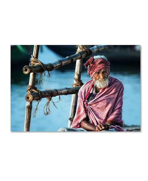 """Trademark Global Piet Flour 'The Old Man And The Ganges' Canvas Art - 32"""" x 22"""" x 2"""""""