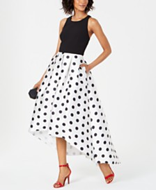 Jessica Howard Solid & Polka-Dot High-Low Gown