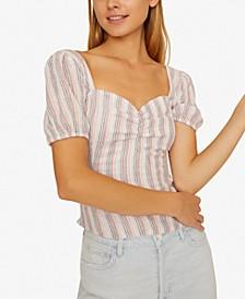 Smocked Boudoir Striped Top